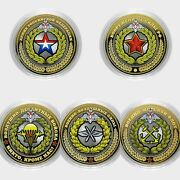 Russia Coins Army 10 Rubles Colored Uncset Of Coins 5 Pieces.