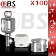 100x Set Of Ball Attachment And Silicon Cap And Metal Housing For Dental Implant Lab