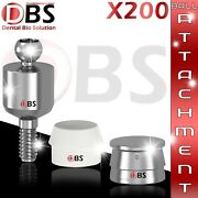 200x Set Of Ball Attachment And Silicon Cap And Metal Housing For Dental Implant Lab