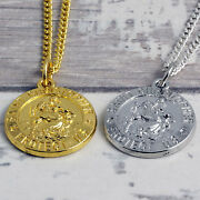 Gold Or Silver Plated St Christopher Pendant On A Steel Ball Chain 16 To 40