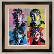 35wx35h The Beatles Fab Four By Apple - Double Matte Glass And Frame