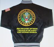 3rd Infantry Division Fort Stewart-georgia Embroidered 2-sided Satin Jacket