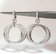 1.26ct Natural Round Diamonds Dangle Rolling Rings Earrings 14kt Large+