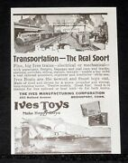 1919 Old Magazine Print Ad, Fine Big Ives Toy Trains, With Long Running Motors