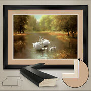 44wx32h Swan Family By Max Weber - Lake - Double Matte, Glass And Frame