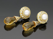 18ct Yellow Gold Pearl Diamond And Briolette Citrine Drop Earrings