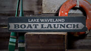 Lake Boat Launch Sign Lake House Decor -distressed Wooden Sign