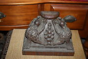 Antique 1800and039s Victorian Wood Carving Birds Eating Grapes Furniture Wall Shelf