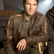 War Of The Worlds Tom Cruise Real Cowhide Leather Jacket - Zh