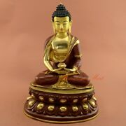 Gold Gilded With Face Painted 13.75 Amitabha Buddha Copper Statue Patan Nepal