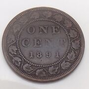 1891 C2 Ll Sd Canada Copper One 1 Cent Large Leaves Small Date Penny Coin F496