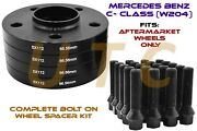 Staggered Black Spacer Kit 25mm And 30mm Mercedes 5x112 W204 C63 C300 Conical Bolt