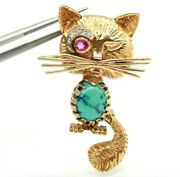 1960s Vintage 14k Yellow Gold Cat / Kitten Pin Brooch With Diamonds And Ruby