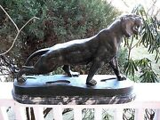 French Antoine-louis Barye Classical Bronze Sculpture Hunting Lioness Signed
