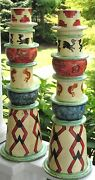 Giant Pair Pottery South West Americana New Mexico Arizona Style Candle Holders