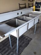 90andrdquo Stainless Steel Nsf Certified 3 Compartment Sink With Drain Drain Boards