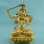 Hand Carved Face Painted Gold Gilded 14 Manjushri Copper Statue Patan Nepal