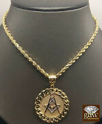 Real 10k Yellow Gold 24 Rope Chain Necklace And 10k Cuban Masonic Charm Pendent