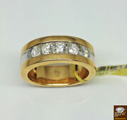 Genuine Brand New 14k Yellow Gold Mens Wedding Band With Real 1 Ct Diamonds.