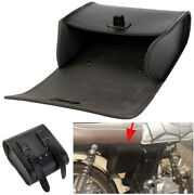 Motorcycle Front Handlebar/rear Seat Luggage Saddle Bags Black Synthetic Leather