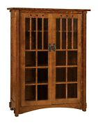 Amish Mission Arts And Crafts Bookcase Glass Doors Solid Wood Furniture 60