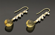 Antique Citrine, Seed Pearl And Diamond Drop Earrings