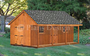 20' X 24' Shed With Covered Porch, 480 Sq. Ft. Cabin Building Plans P52024
