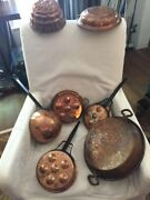 Vintage Lot Of 7 Copper Molds Ladle Pans Grouping Decor Wall Various Sizes