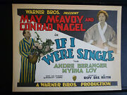 1927 If I Were Single - Myrna Loy + May Mcavoy - Rare Exc Con Title Lobby Card