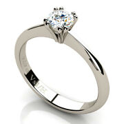 0.40 Ct Diamond Vs1 H Solitaire Four Double Prongs Ring White Gold 18 Ct Carats
