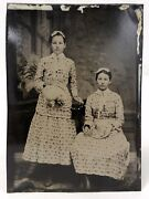 3 Antique 1/6 Tintypes Twin Sisters - Cute Boy With Hat - Cute Girls And Umbrella