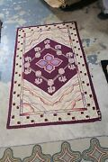 Vintage 1967 Primitive Hand Made Wool American Hooked Rug 2and039-8 X 4and039-6
