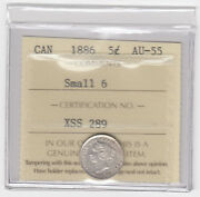 1886 Canada 5 Cents Small 6 Variety Silver Coin - Iccs Au-55 - Xss 289