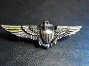 Vintage Collectible Ww2 Era U.s. Navy Pilots Wings 1/20 10k And Sterling Pin