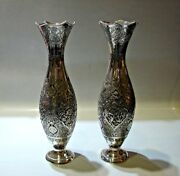 Gorgeous Persian Pair Of Sterling 84 Hand Chased Vases Circa 1960s