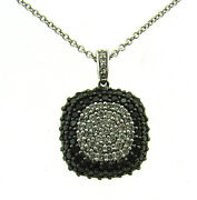 Bh 14k White Gold Black And White Diamond Pendant Chain Necklace Italy Stamped