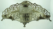 C.1900 English Sterling Silver 423g Real Dipping Crystal Inkwell Ink Pot Unique