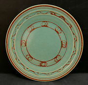 Vintage Pacific Pottery Dinner Plate 613 Green Wave Pattern