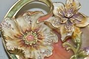 595 New Jay Strongwater Margaux Floral Heart Trinket Tray Boudoir Crystals