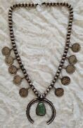 Vintage Antique Sterling Silver Navajo Turquoise Naja Necklace - Appraised