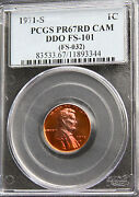 1971 S Lincoln Cent Penny Doubled Die Obverse Pcgs Pr67 Rd Cameo Ddo Fs-101