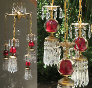 Vintage 5light Chandelier Swag Lamp Cranberry Ruby Glass Brass Hollywood Dining