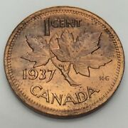 1937 Canada One 1 Cent Penny Copper Uncirculated Canadian Coin F887