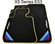 Floor Mats For Bmw X5 Series E53 Black Beige Rounds /// Power Emblem And Clips