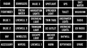 Fishing Boat Instrument Panel Decal Label Or Switch Or Fuse Description Std. Set