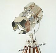 Nautical Antique Spot Light Floor Lamp Brown Wood Tripod Lamp Collectible Gift