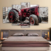 Old Broken Tractor Painting 5 Panel Canvas Print Poster Wall Art