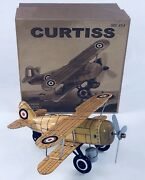 Tin Toy Yellow Bi-plane Wind Up Plane Rolls And Prop Spins Great Collectible