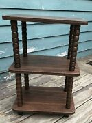Vintage 3 Tiered Wooden Wood Table Plant Curio Stand 24 Spindle Legs