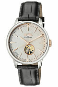 Gevril Menand039s 9601 Mulberry Black Leather Silver Dial Exhibition Stainless Watch
